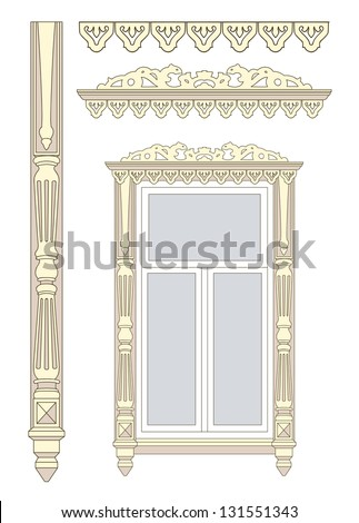 Set of wooden decorations for the window. Vector illustration. - stock vector