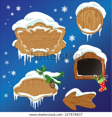 Set of Wooden frames, design elements for  Merry Christmas and Happy New Year holidays.  - stock vector