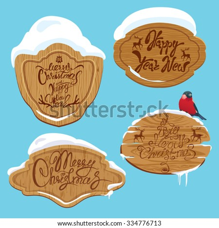 Set of Wooden frames with snow and handwritten calligraphic text Merry Christmas and Happy New Year, design elements for winter holidays.  - stock vector
