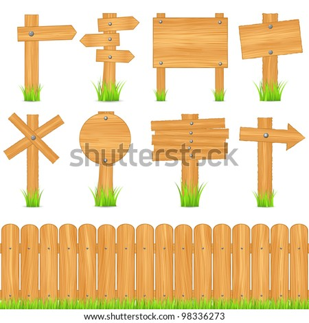 Set of wooden objects, vector eps10 illustration - stock vector