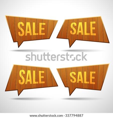 Set of wooden sign speech bubbles. 3D vector templates for design - stock vector