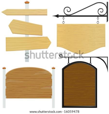 set of wooden sign vector 2 - stock vector