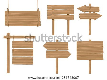 set of wooden sign vector on white - stock vector