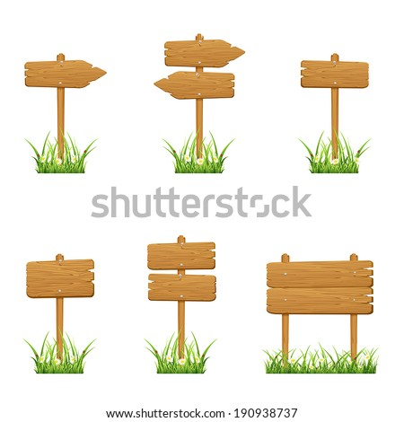 Set of wooden signs in a grass isolated on white background, illustration. - stock vector