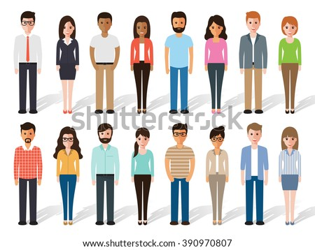 set of working people standing on white background. Flat design characters. - stock vector