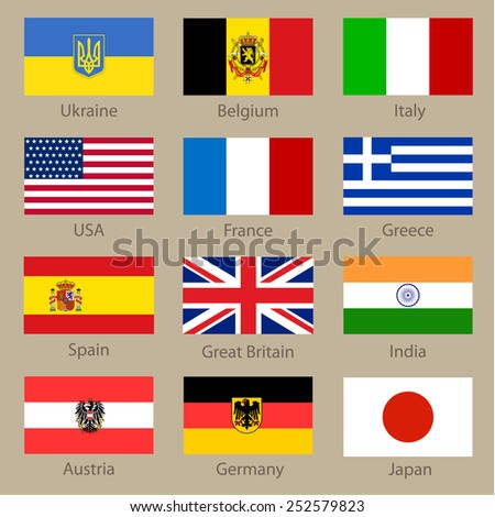 Set of world flags on neutral background. Vector illustration - stock vector