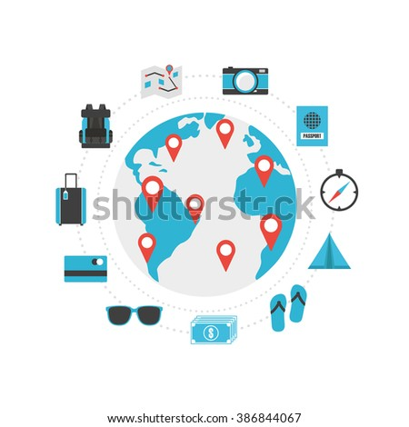 set of world travel icon, isolated on white background - stock vector