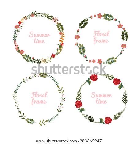 Set of wreaths. Floral circular frame for postcards. Editable Vector illustration. - stock vector