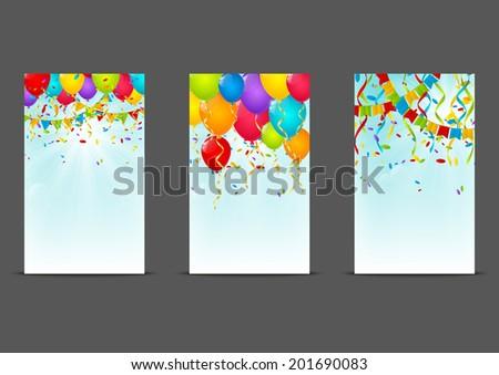 Set of 240 x 400 Birthday banners - stock vector