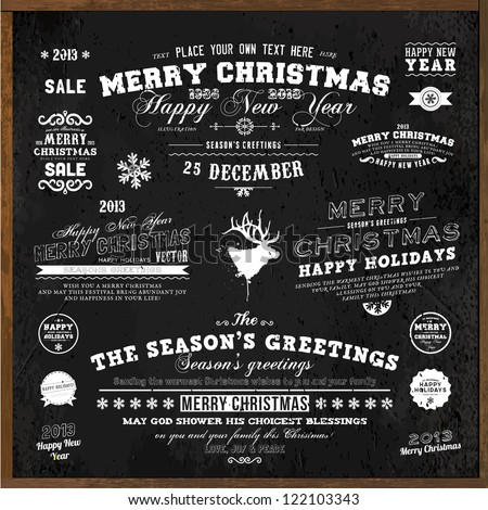 Set of Xmas and Happy New Year Labels with retro vintage styled design. Christmas decoration collection. Calligraphic and typographic elements, labels, signs. Deer head. Eps 10 vector illustration. - stock vector