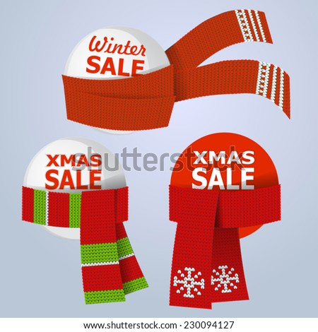 set of xmas sale labels with knitted scarf - stock vector