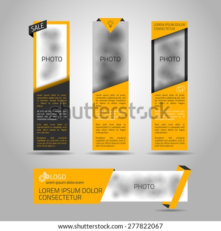 Set of yellow banners. 4 vector elements for web or print design. Place for photo included.  - stock vector