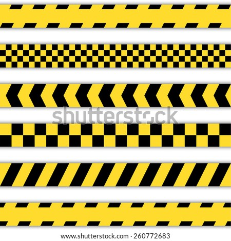 Set of yellow Barrier Tapes, police tapes, Caution line and danger tapes  - stock vector