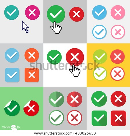 Set of Yes or No icons - stock vector