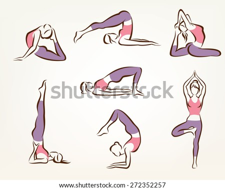 set of yoga and pilates poses , stylized vector symbols, health care and fitness concept - stock vector