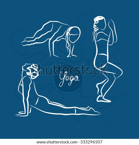 Set Of Yoga Poses. Blue Background - stock vector