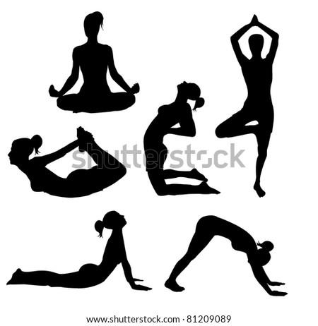 set of yoga practices - stock vector