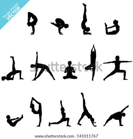 Set of Yoga Silhouette. Vector - stock vector