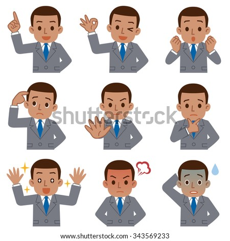 Set of young black businessman - stock vector