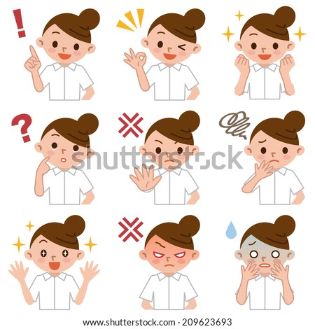Set of young nurse - stock vector