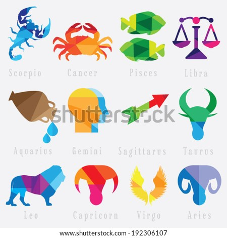 set of zodiac horoscope signs - stock vector