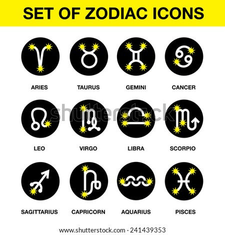 Set of zodiac icons - design element: Aries, Taurus, Gemini, Cancer, Leo, Virgo, Libra, Scorpio, Sagittarius, Capricorn, Aquarius, Pisces - stock vector