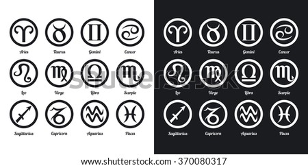Set of zodiac signs. Two-tone version on black and white background - stock vector