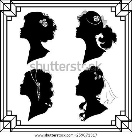 Set off the girl`s silhouette in retro style - stock vector