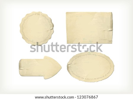 Set old paper textures elements - stock vector