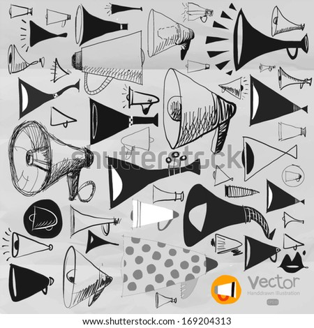 set on hand drawn Scribble megaphone vector - stock vector