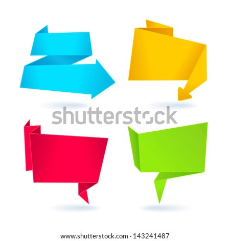 Set 4 origami banners - stock vector