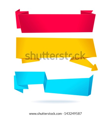 Set. 3 origami banners - stock vector