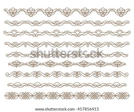 Set ornamental borders. Vector decorative elements.Brown white. - stock vector