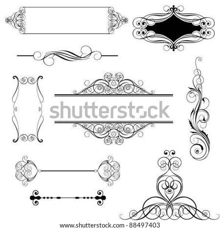 Set ornamental design.Set of abstract frame and decorative elements, black colored.Each of them group singly. - stock vector