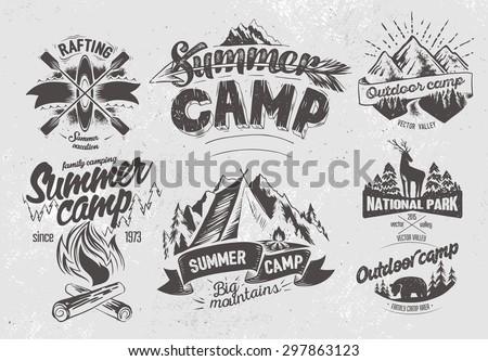 Set outdoor camp typography design label  - stock vector