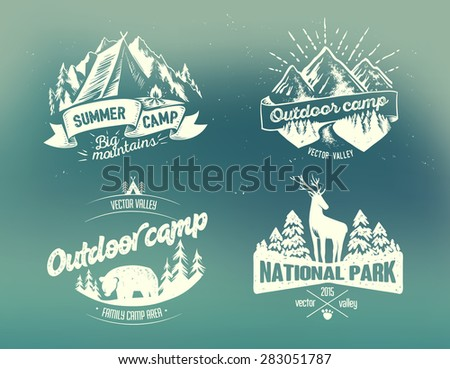 Set outdoor camp typography design label on on blurred background - stock vector