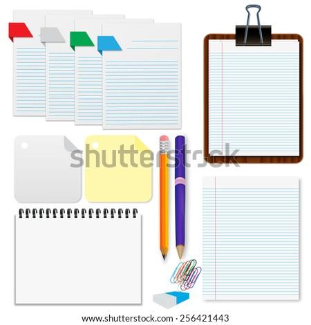 Set, paper, sheets, pencil, stationery vector illustration - stock vector