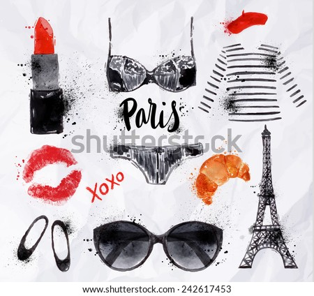 Set Paris with various symbols of Paris Eiffel Tower glasses croissant, grubnoy lipstick, shoes, lingerie watercolor painted on crumpled paper - stock vector