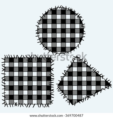 Set patchwork. Isolated on blue background. Vector silhouettes - stock vector