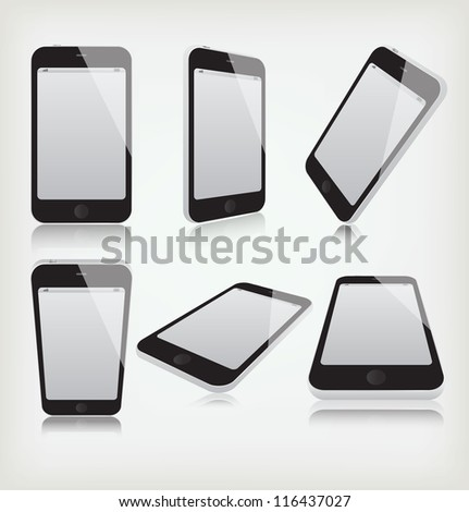 Set phone at different angles - stock vector