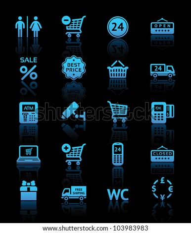 Set pictogram supermarket services, shopping blue icons - stock vector