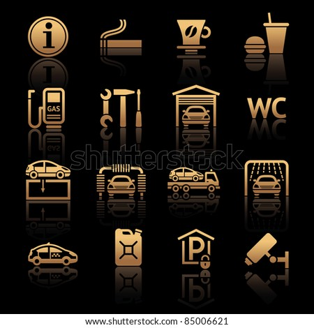 Set pictograms. Car services. Gas station. Symbols Roadside services. Bronze - stock vector