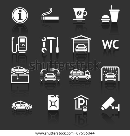 Set pictograms. Car services. Gas station. Symbols Roadside services. Dark gray background - stock vector