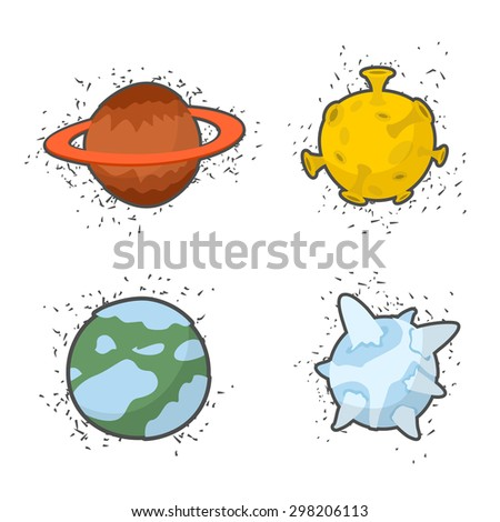 Set  planets on a white background: the Moon and Saturn, ice planet. Vector illustration  - stock vector