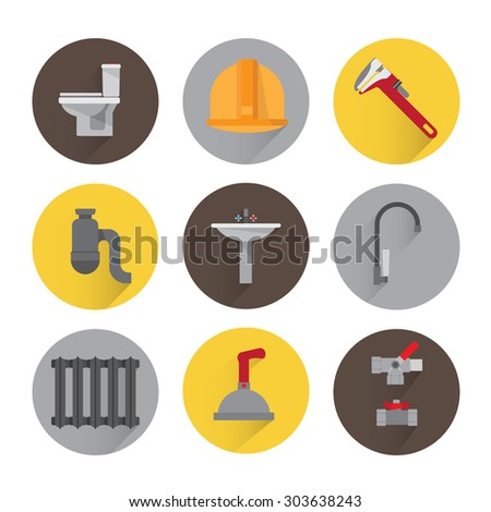 Set plumbing icons. Tools, equipment and plumbing elements flat. adjustable wrench, valve, fittings, shower, toilet, faucet. Background white. - stock vector