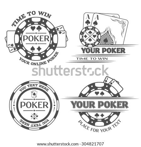 Set Poker emblems. The monochrome style. - stock vector