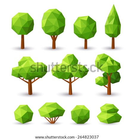 Set polygonal trees and bushes with different crowns. - stock vector