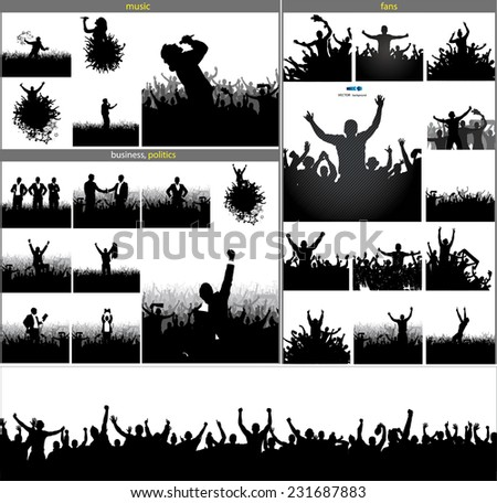 Set posters for sports championships and concerts - stock vector