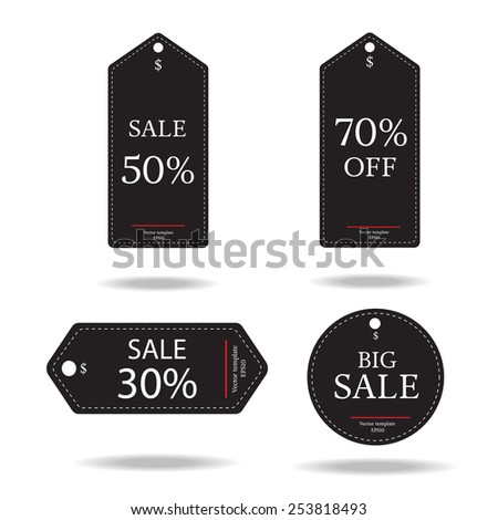 set price tag on the black-vector  - stock vector