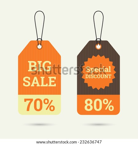 Set price tag with ribbons and labels. special discount and big sale 70, 80 %. banner - stock vector
